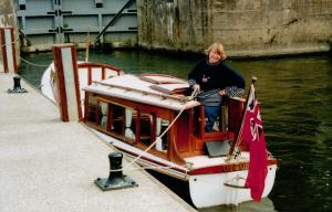 Daphne Neville in the restored 1912 river launch 'Ottor'