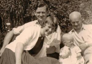 Daphne & Martin with their first baby and Doddy Dodson, Daphne's father.