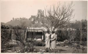 Marjorie Neville in her garden at Corfe Castle