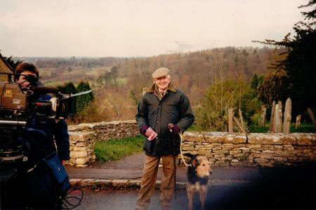 Martin Neville with his dog Jake filming at Sapperton in the Cotswolds