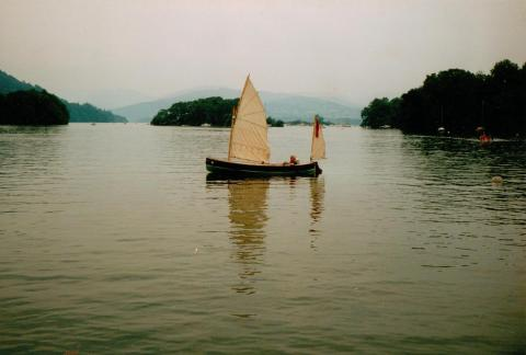 Martin Neville in his completed Humber Yawl on Windermere in 1991